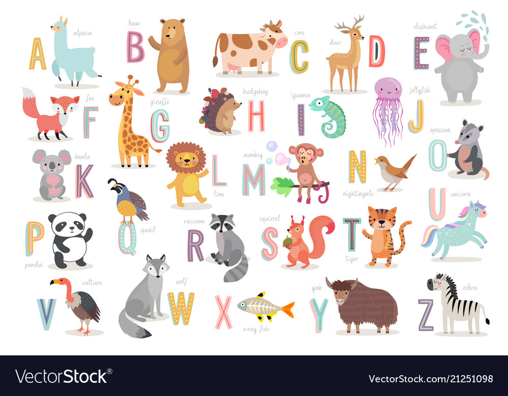 Cute Animals Alphabet For Kids Education Funny Vector Image