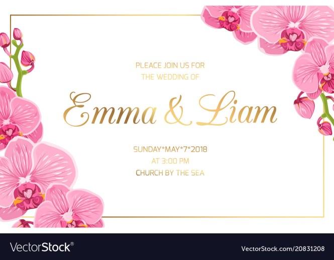 Wedding Invitation Border Frame Corner Pink Orchid