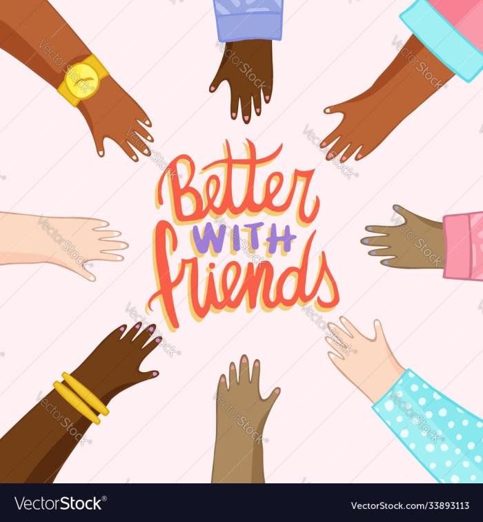 Friendship card diverse friend hands cartoon Vector Image