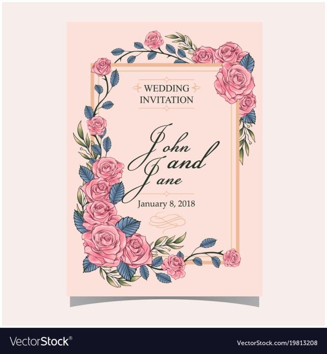Wedding Invitation Pink Roses Colour Backgrou
