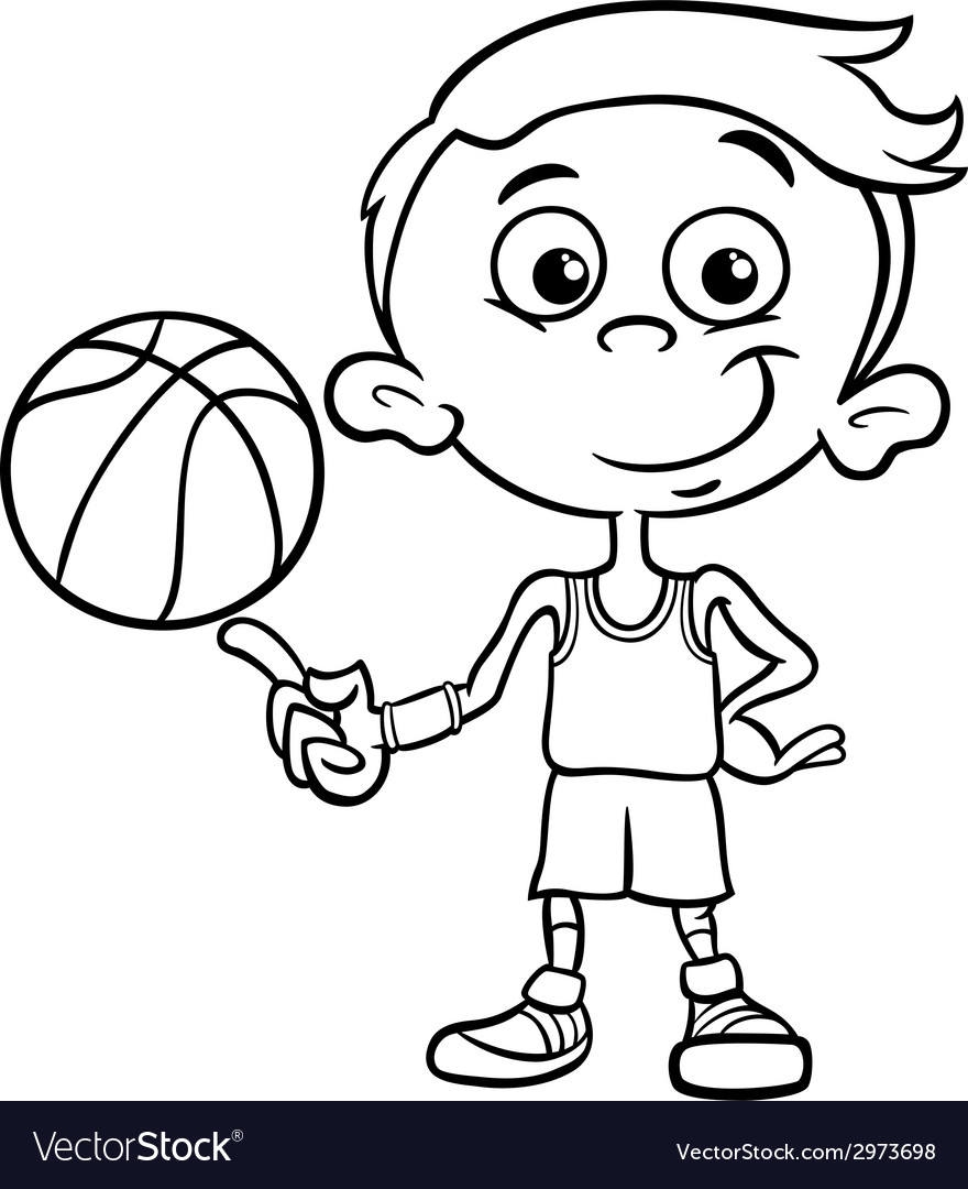 Free Coloring Pages Download : Boy Basketball Player Coloring Page Royalty  Free Vector Of Basketball Player