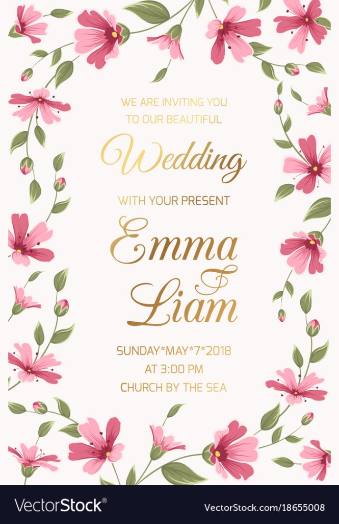 Wedding Invitation Card Template Pink Gypsophila