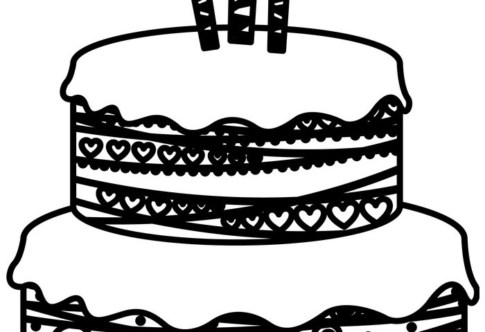 Sketch Silhouette Birthday Cake Two Floors With Vector Image