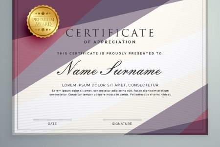 Modern certificate template design with purple Vector Image