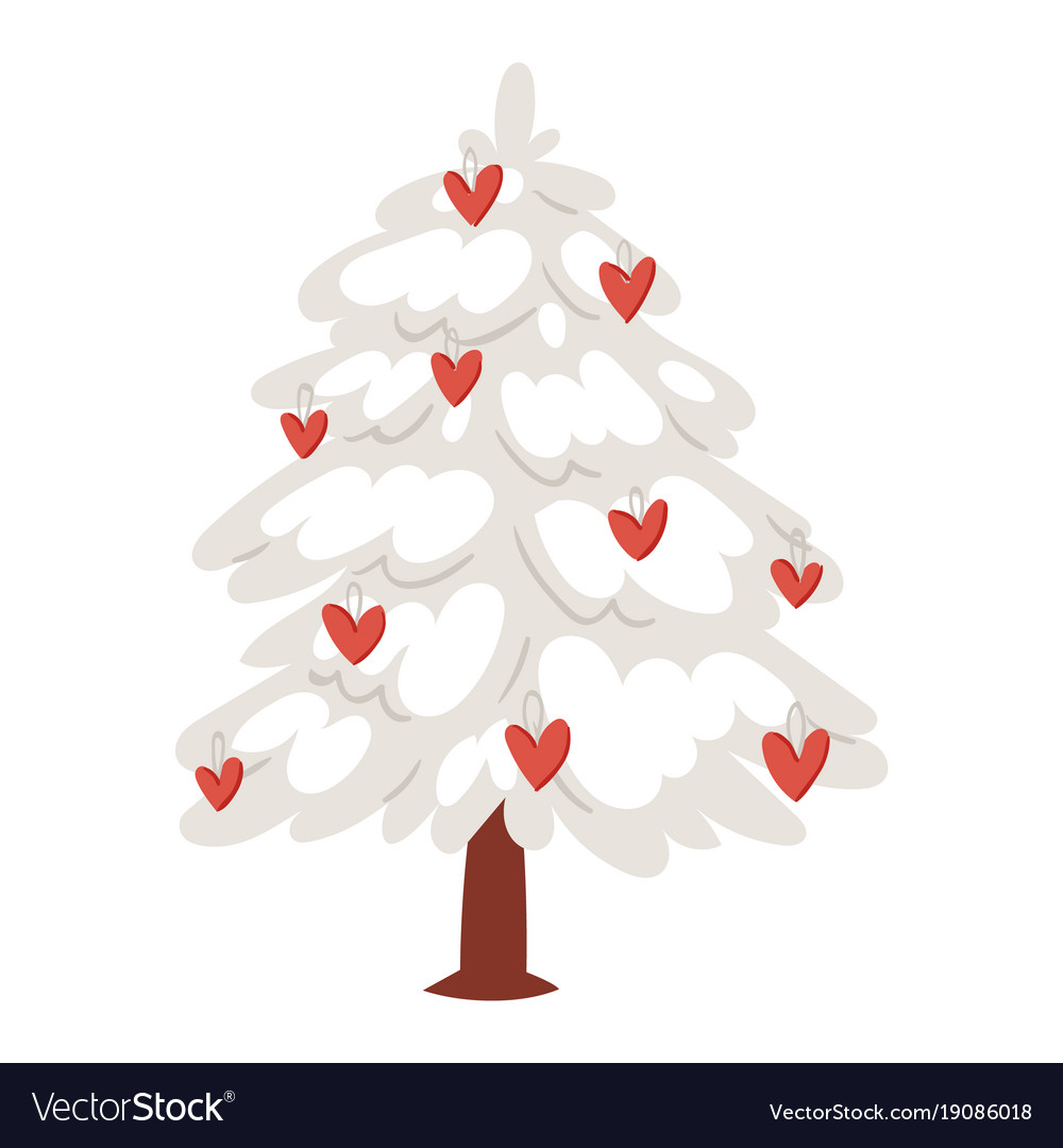 Download Love tree christmas new year heart icons Vector Image