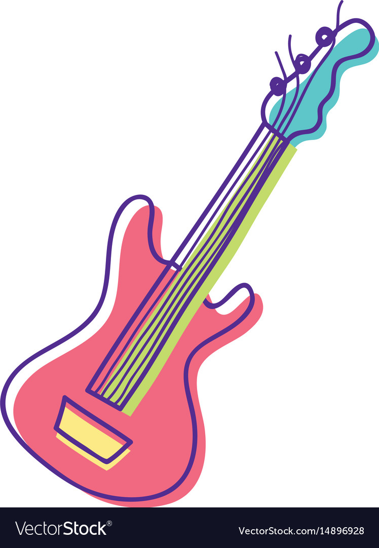 cute guitar play music instruments royalty free vector image