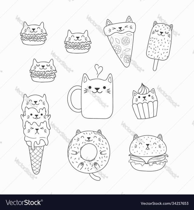 Kawaii cats food coloring pages Royalty Free Vector Image