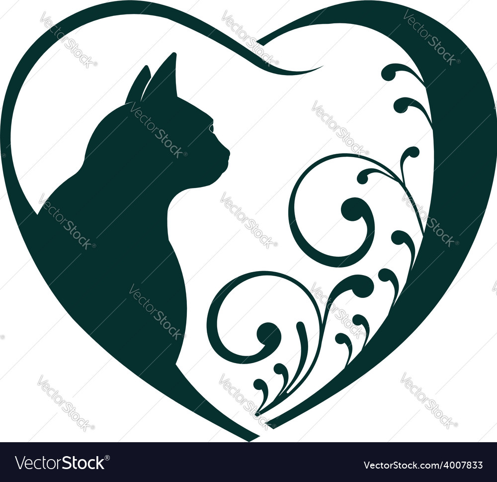 Download Love cat heart logo Royalty Free Vector Image - VectorStock