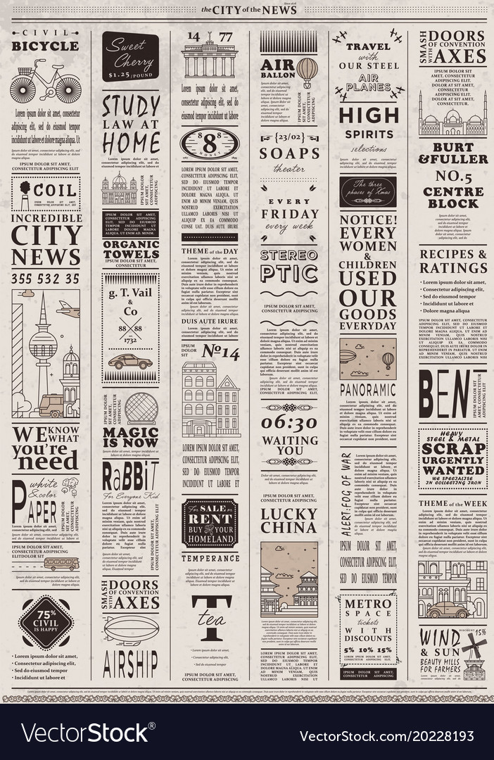 Design of old vintage newspaper template Vector Image