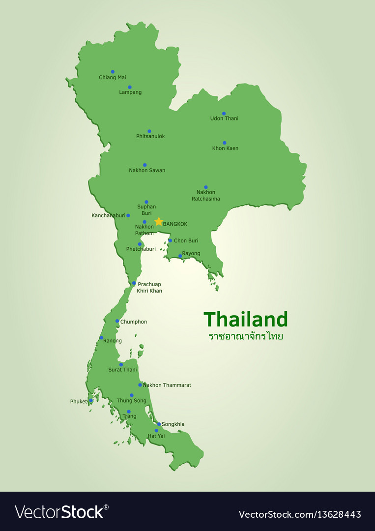 Flat map of thailand Royalty Free Vector Image Flat map of thailand vector image