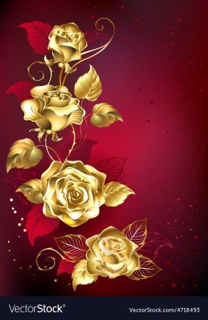 Gold Roses on Red Background Royalty Free Vector Image Gold Roses on Red Background vector image