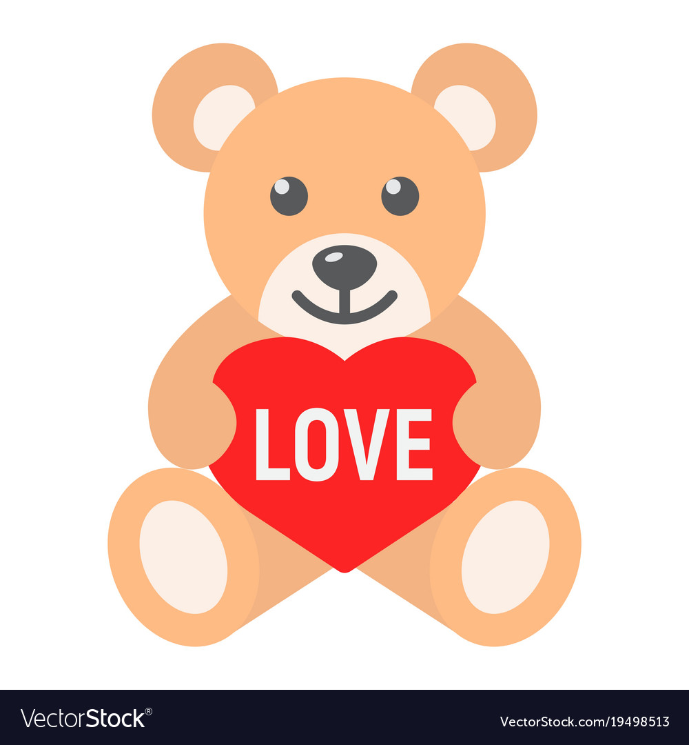 Teddy Bear With Heart Flat Icon Valentines Day Vector Image