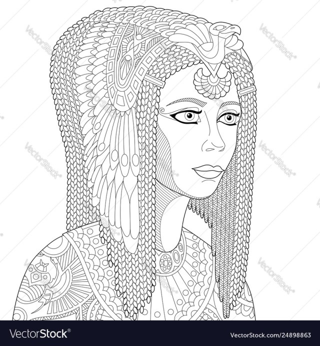 Egyptian queen cleopatra adult coloring page Vector Image