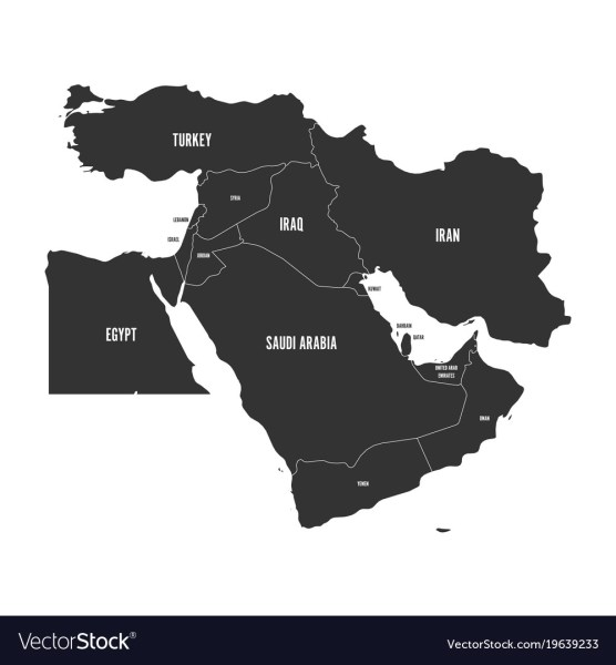 Political map of middle east or near east in Vector Image