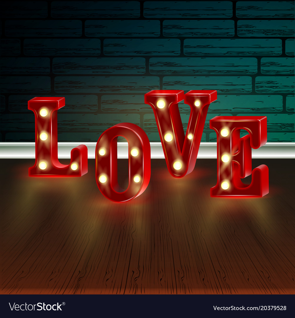 Download Neon 3d word love with lights Royalty Free Vector Image
