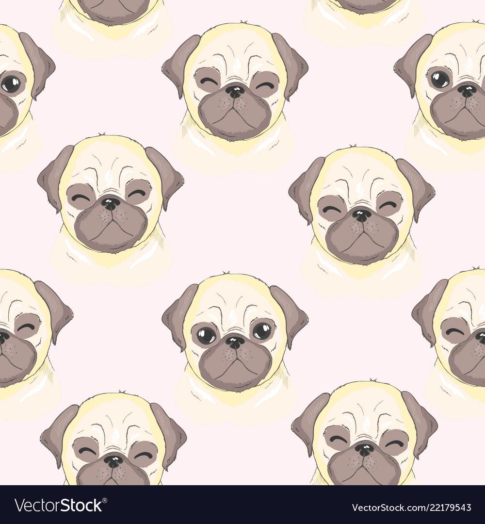 Cute Pug Pattern Royalty Free Vector Image Vectorstock