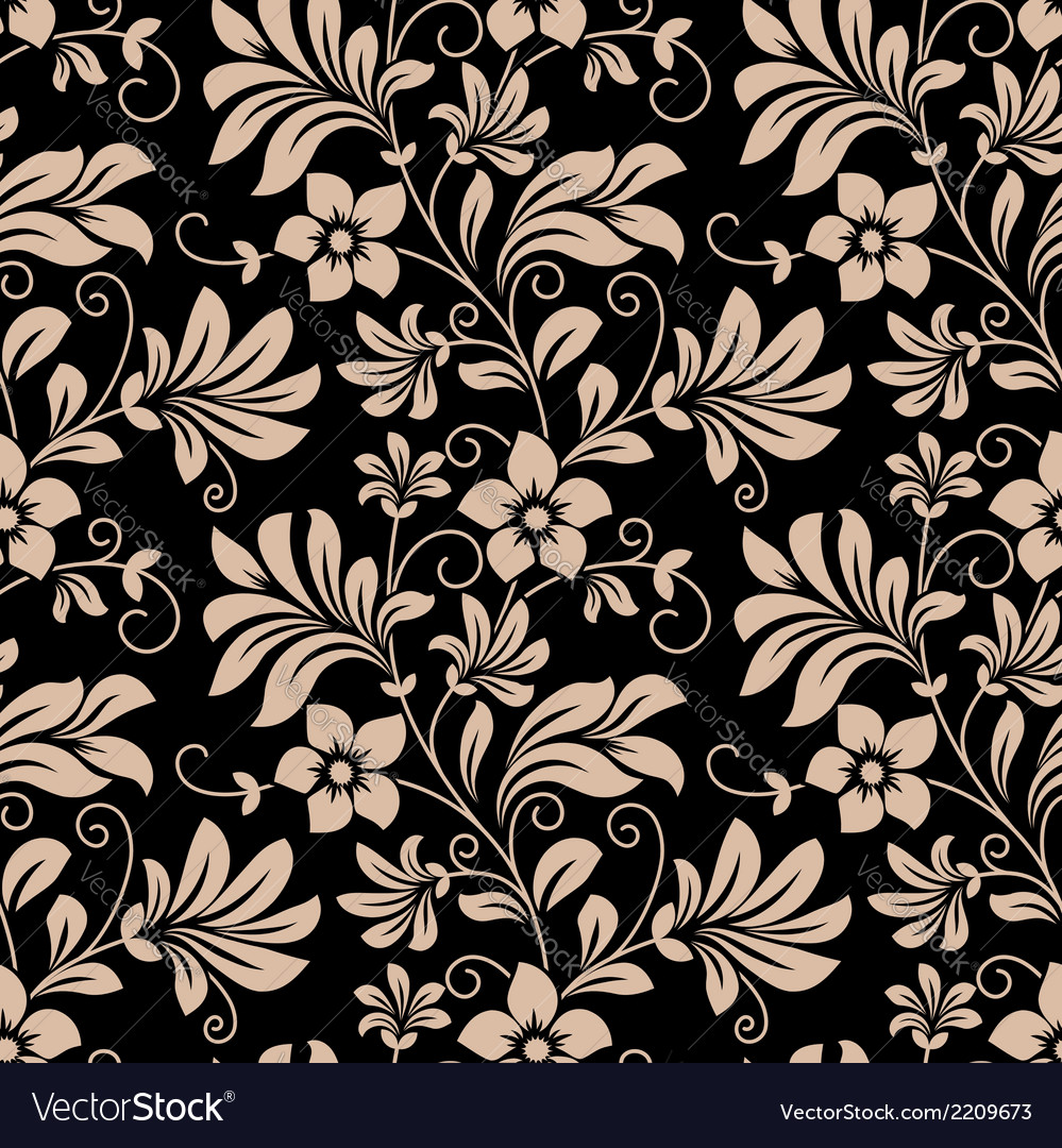 Vintage Floral Wallpaper Seamless Pattern Vector Image