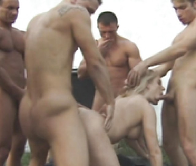 Outdoor Hardcore Gangbang Action Of A Busty Horny Blonde