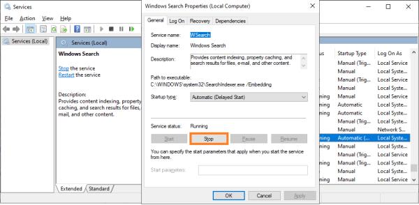 100 Использование диска - services.msc - Windows Search - Свойства - Windows Wally