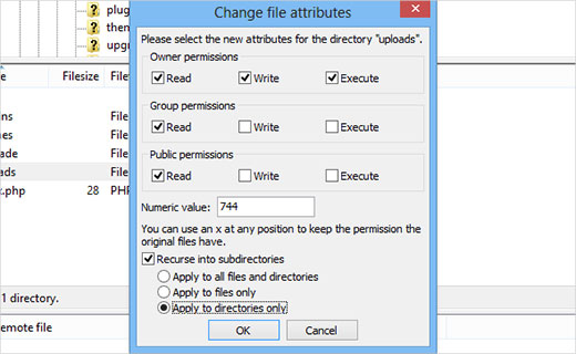 File permissions for media uploads and subdirectories in WordPress
