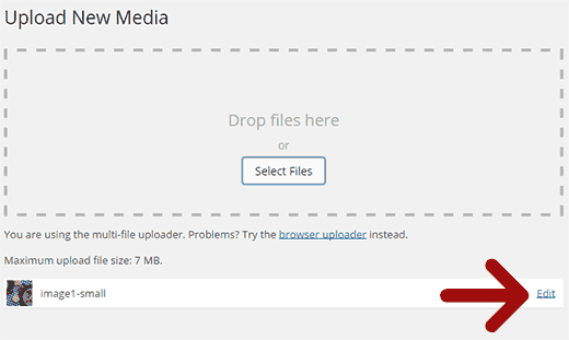 Upload and Edit an image file in WordPress