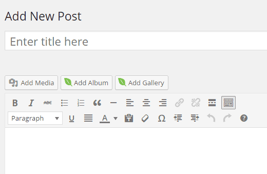 Adding album into post or page