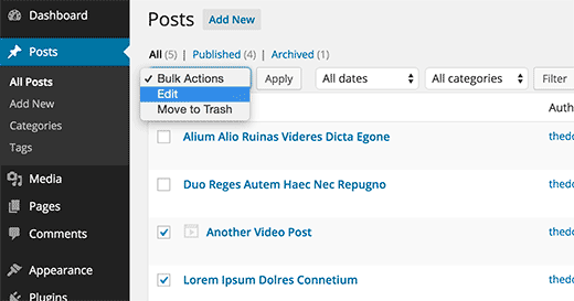 Bulk editing posts in WordPress