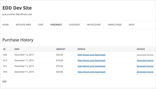 Generate invoices link on purchase history page