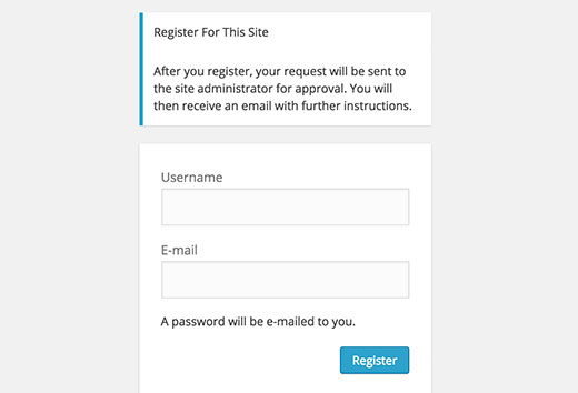 User registration screen informing users about moderation