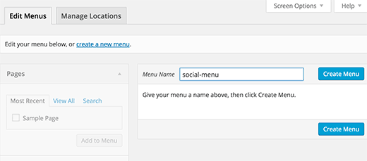 Creating a new navigation menu in WordPress