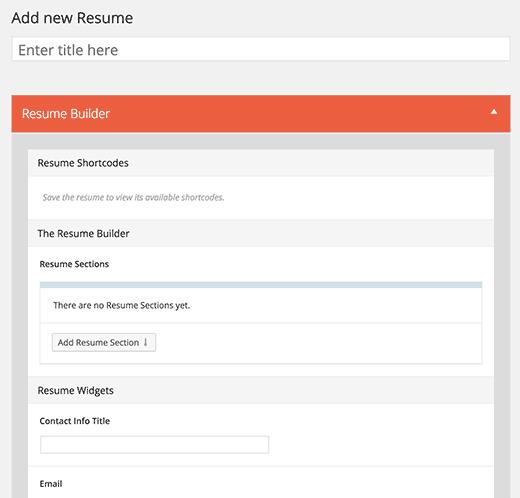 Adding a new resume in WordPress