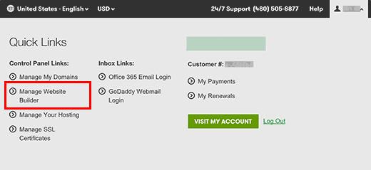 Manage website builder in GoDaddy account