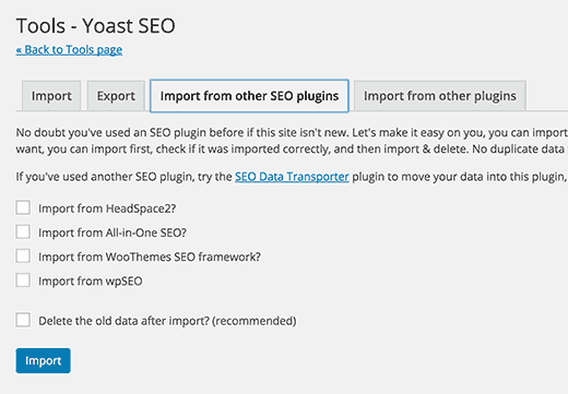 Import export tools in Yoast SEO