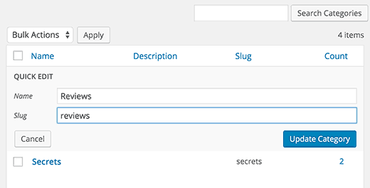 Changing category slug using quick edit