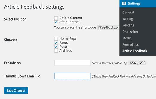 Article Feedback settings