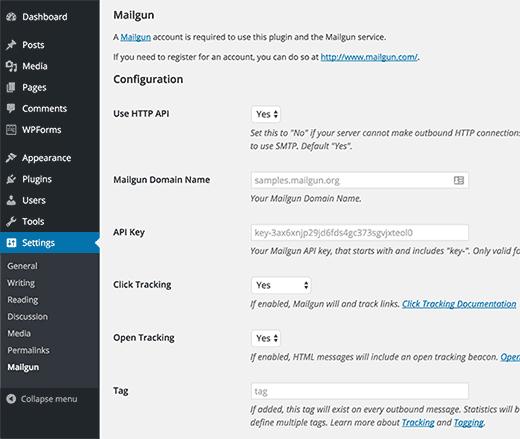 Mailgun for WordPress plugin settings