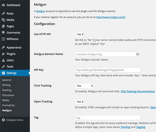 Mailgun for WordPress plugin settings