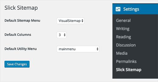 Slick sitemap settings