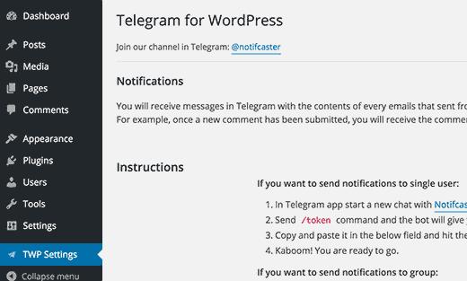 Telegram for WordPress settings