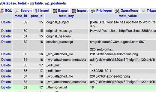 Thumbnail ID meta key stored in postmeta table