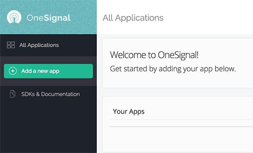 Yeni OneSignal uygulaması ekle