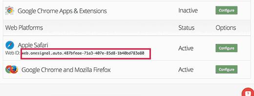 Safari web ID