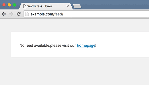 Feeds disabled error page in WordPress