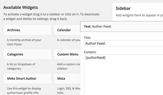 Adding subscribe to author link in WordPress sidebar widget