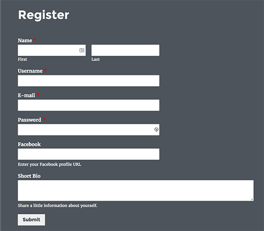 Previewing custom user registration form