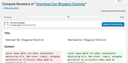 Revisiones en WordPress