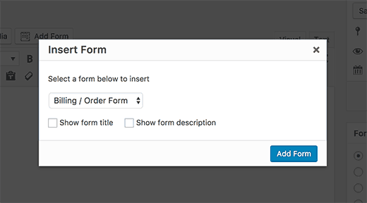 Select your Stripe payment form