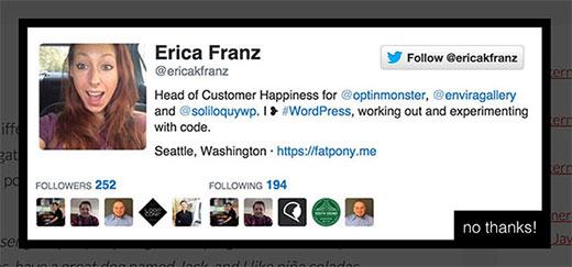 Có được nhiều người theo dõi Twitter hơn bằng cách sử dụng cửa sổ bật lên