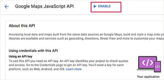 Enable JavaScript API