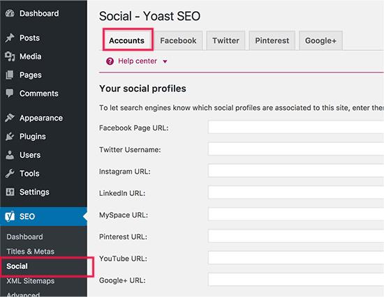 Tambahkan akun media sosial Anda